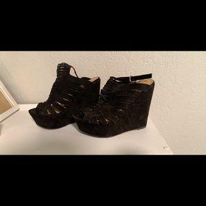 Charlotte Russe Seude Style Platform Wedge Sandle